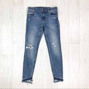Zara Denim Woman Jeans Distress Fray Hem Size 4